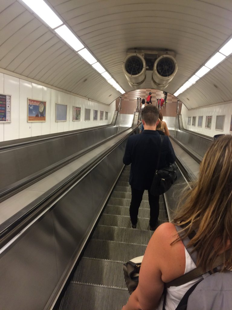 Train from Vienna to Budapest - Escalators leading down from Budapest-Keleti to tram station