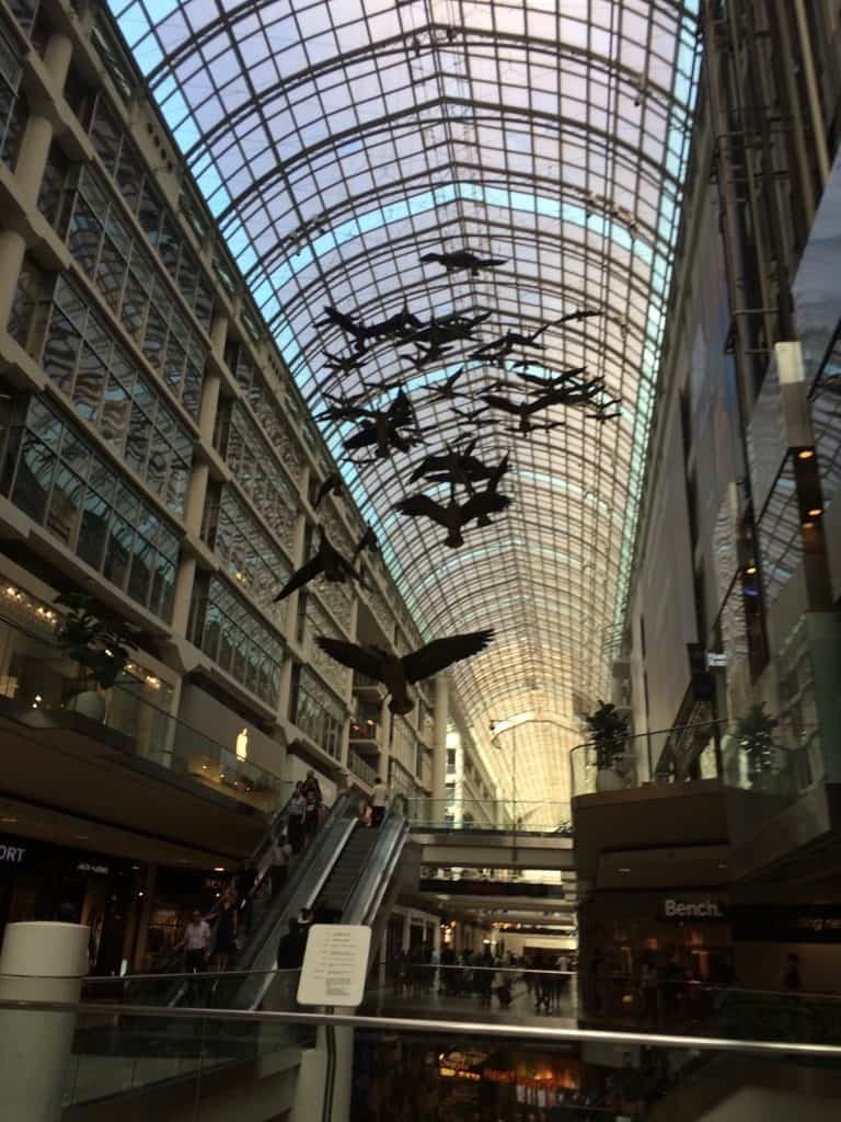 Free things to do in Toronto -Walk around the Eaton Centre