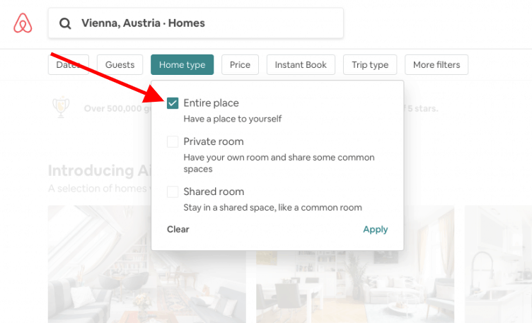Airbnb vs. hotel - Entire place filter