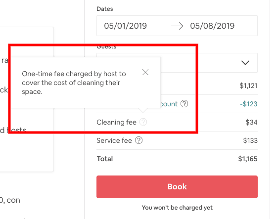 Airbnb etiquette - cleaning fee
