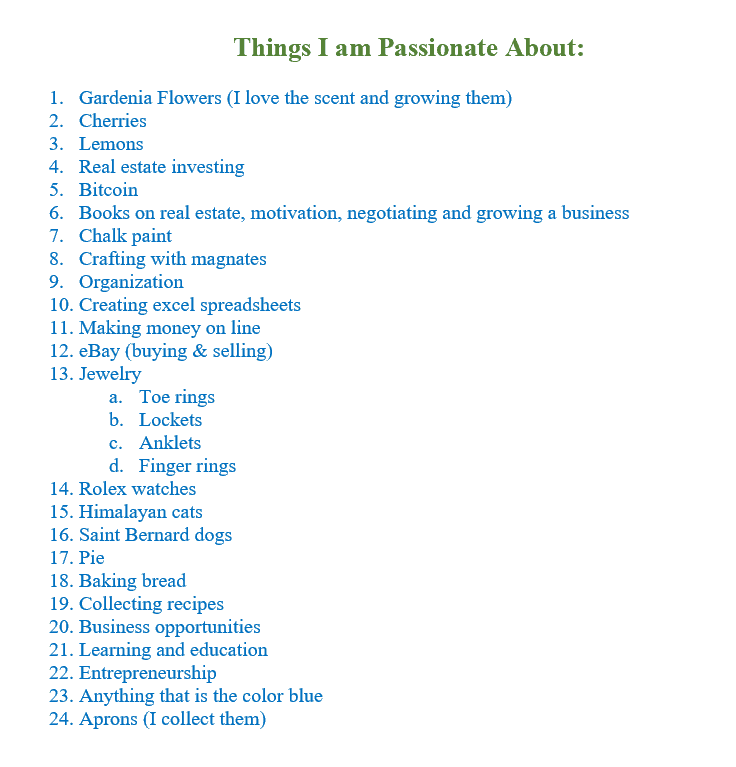 List of Items I'm Passionate About