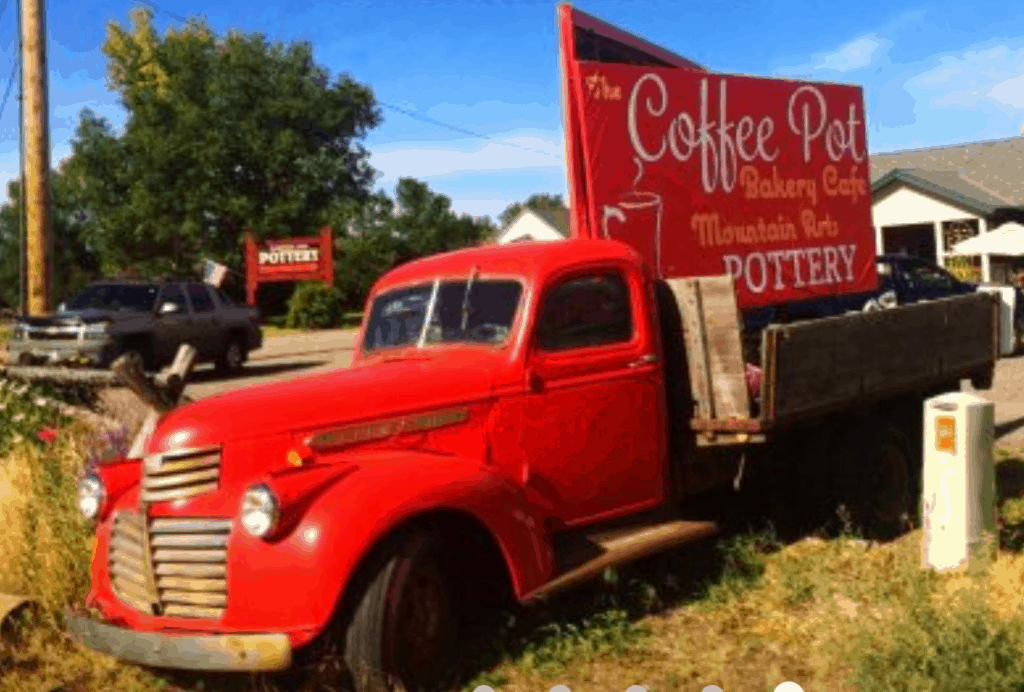 The Coffee Pot Bakery Red Truck Sign