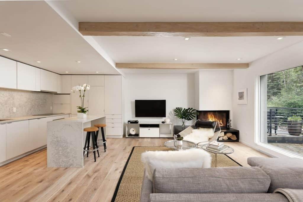 inside a modern living room in aspen airbnb